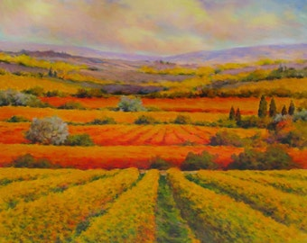 Original painting. Tuscan landscape in Val d'Orcia. Artwork by Paolo Bigazzi.