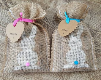 Handmade easter gift bags etsy personalised treat bags easter bunny bags hessian gift bags handmade gift bags negle Gallery