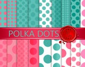 Polka Dots in soft green, pink and white for your scrapbook / Feminine and delicate / Polka dots in various sizes and formats.