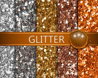 Glitter Digital Paper / Silver, Iron, Gold, Old Gold & Copper / Digital Paper, Digital Glitter, Glitter Backgrounds / Real Photo