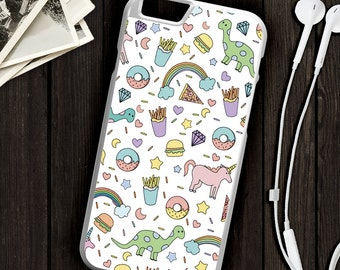 Donuts and Dinosaurs Rainbow Junk Food Print Pattern Collage Art Hard Shell iPhone Case, iPhone 6, iPhone 7,  iPhone 5C, iPhone 5, iPhone 4