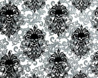 Cotton skull Brocade pattern ornaments skull Gothic black white skull Miller