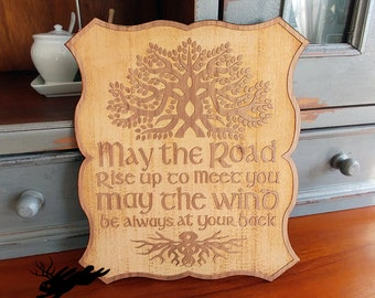 Irish Blessing Sign, Engraved Wood Sign, May The Road Rise to Meet You Sign, Dimensional Wood Sign, Housewarming Sign, Engagement Gift