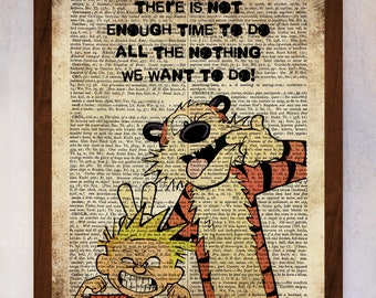 Calvin and Hobbes Printable, Calvin and Hobbes Wall Art, Book Page Print, Dictionary Page Print, Calvin and Hobbes Quote