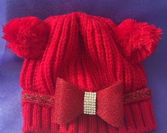 Red bling bow baby hat 0-6months