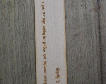 Wooden bookmark- laser cut quote J K Rowling