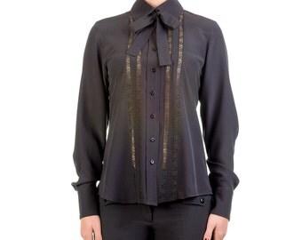Crepe de chine blouse with lace, handmade PIECE size (it 42 - eu 38 - uk 10 - us 6) PROMOTIONAL PRICE