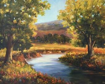 Big 24 x 36 Acrylic Landscape Original Painting by Peggy Corthouts Beautiful Nature Peaceful Serene