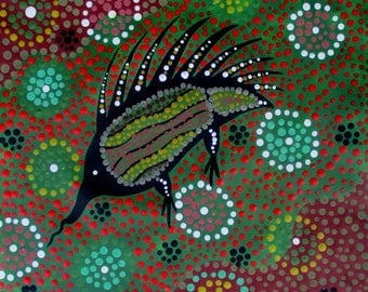 Aboriginal art Echidna by Pati acrylics on canvas comes with COA signed
