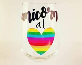 Unicorn at Heart Stemless Wine Glass - 17oz