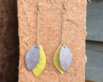 Handmade Yellow and Gray Leaf and Petal Shaped Earrings made from Handmade Paper