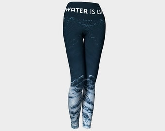 Water is Life Leggings | Eco Friendly Leggings | Activism Clothing | DAPl Clothing | Standing Rock Clothing | Water Leggings | Dark Leggings