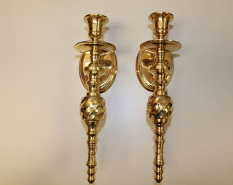 Vintage Heavy Brass Twisted Staff Wall Sconces, Candle Holders