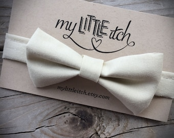Bow tie | ivory | newborn baby infant toddler child | adjustable | Newborn Photo prop | ring bearer bow tie | Baby Wedding Outfit