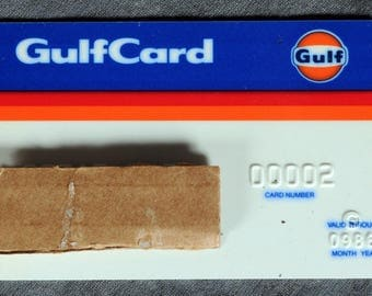 Gulf Oil Gasoline Credit Card Gulfcard exp 86 Blue and White