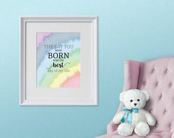 Gender Neutral Nursery Printable, Rainbow Nursery, Day you were born, Baby Nursery Printable, Nursery Printable, Nursery Decor, Printable,