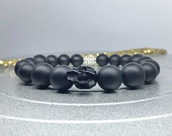 Crystal Skull Bracelet. Swarovski Crystal Skull Jet Black / Matte Black Onyx Yoga Mala Beaded Bracelet. Healing Natural Gemstone Bracelet.