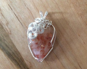 Wire Wrapped Sunstone Pendant