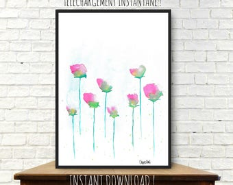 Mother's day, instant download from a watercolor painting, illustration, home decor, mother's day painting, floral, flowers, printable