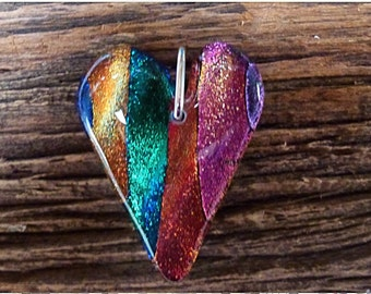 Fused glass pendant  - Fused Glass Jewellery - Made in UK - One of a kind- Unique Gift - Dichroic Heart, Multi Colour