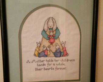 Mother Children Bunny Cross Stitch