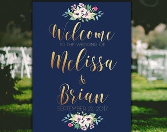 Navy wedding sign Welcome wedding sign Navy Blue and Gold wedding sign Floral Wedding Sign Navy wedding decor Printable Wedding Welcome