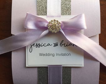 Lilac Bow Silver Personalised Pocket Fold Wedding Invitation - Sample - Luxury and Unique - Wedding Stationary - THE BOW Invitations