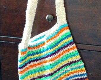 Crocheted Summer Striped Beach Bag