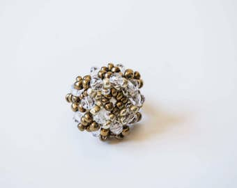 Beaded jewelry. Beaded jewelry ring. Beaded gold white ring. Gold white beads ring.