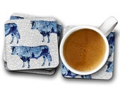 Dairy Cow, Square Coasters, Blue Cow, Blue Cow Dairy, Cow Coasters, Cow Dairy, Blue Dairy, Blue Coasters, Cow Blue, Coasters Blue, Cow Art