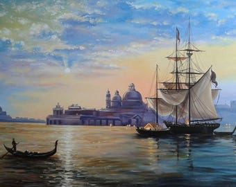 "Wall decor. Oil painting on canvas ""Venice""."