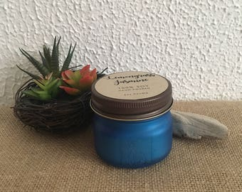 Lemongrass Jasmine Soy Mason Jar Candle - 4 oz // Ocean Blue Sea Glass | Lemongrass Candle | Scented Vegan Candle | Spa Soy Candle