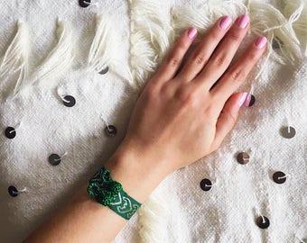 Moroccan Bracelet, Gypsy Cuff, Boho Jewelry, Green Bracelet, Moroccan Jewelry - 90s vibe- bohemian jewelry- Free US Shipping