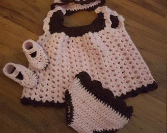 Baby girl Pink and brown angel wings set