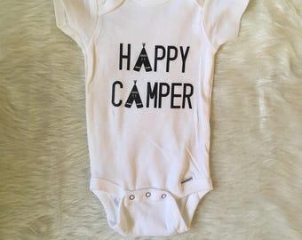 Happy camper onesie, camping onesie, funny onesie, baby happy camper bodysuit, teepee bodysuit, teepee onesie