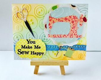 You Make Me Sew Happy Card, Sewing Card, Crafting Card, Hobby Card, Sewing Machine Card, Sewing Machine Greeting Card, Seamstress Card