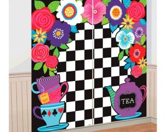 Mad Hatter Tea Party Photo Backdrop/ Alice in Wonderland Party Photo Backdrop/ Dark Tea Party Photobooth/ Tea Party Backdrop/ Tea Party