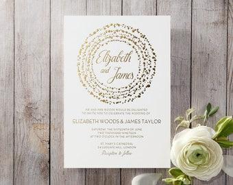 Exquisite & Elegant Dotted Wedding Invitation, White 16060