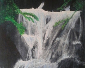 Winter Falls - original acrylic painting signed by the artist
