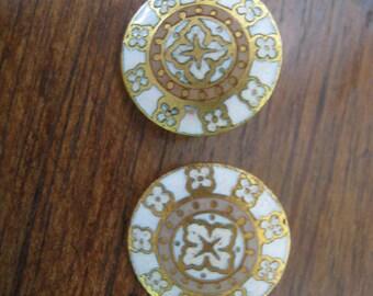 2 little antique enamel button 14 mm PARIS french