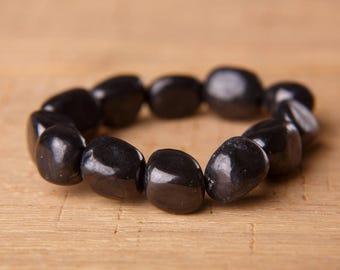 "Shungite Bracelet Natural Large Tumbled Beads bracelet - 7"" Genuine Shungite Beaded Gemstone Bracelet Black and amber"