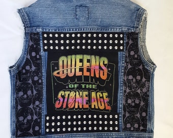 KIDS Queens of the Stone Age denim rock vest-size: 4-6yrs
