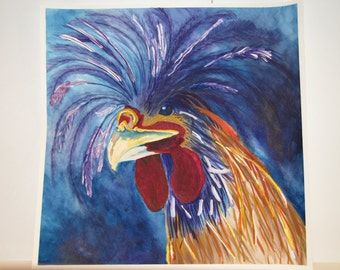 Crested Red Rooster - Watercolor