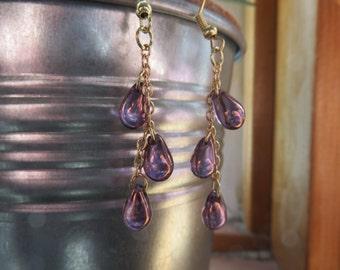 Amethyst Purple Czech Glass Dangle Earrings