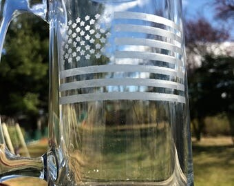 Glass etched flag mug | Patriotic beer glass |  Etched flag glass | Gifts for him | Personalized for him