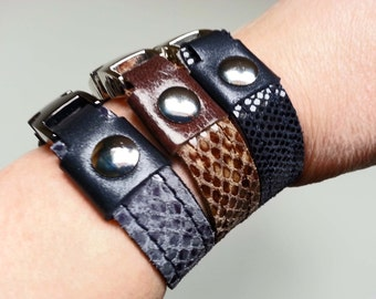 leather bracelet, Cuff Bracelet, leather bracelet, reversible, reversible, reptile print, blue, male, female, gift for him, gift for her