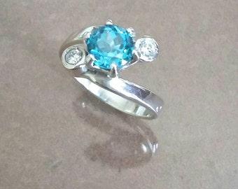 Silver, Blue Topaz ring A + D 136