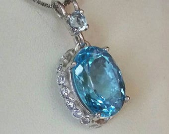 """Pendant """"Pd topazirc"""" in silver and Blue Topaz"""