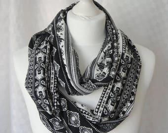 Ethnic hamsa print infinity scarf, Circle scarf, Hamsa print scarf, Scarf for her, Lightweight scarf, Fashion scarf