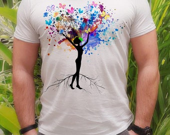 Love tree t-shirt - Butterfly tee - Fashion men's apparel - Colorful printed tee - Gift Idea